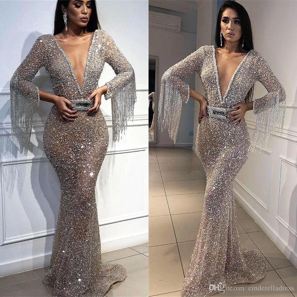 2020 Quasten Peals arabische Abendkleider Hot Mermaid-formale Partei-Kleider Berühmtheit Abendkleid Kleider für besondere Anlässe Dubai