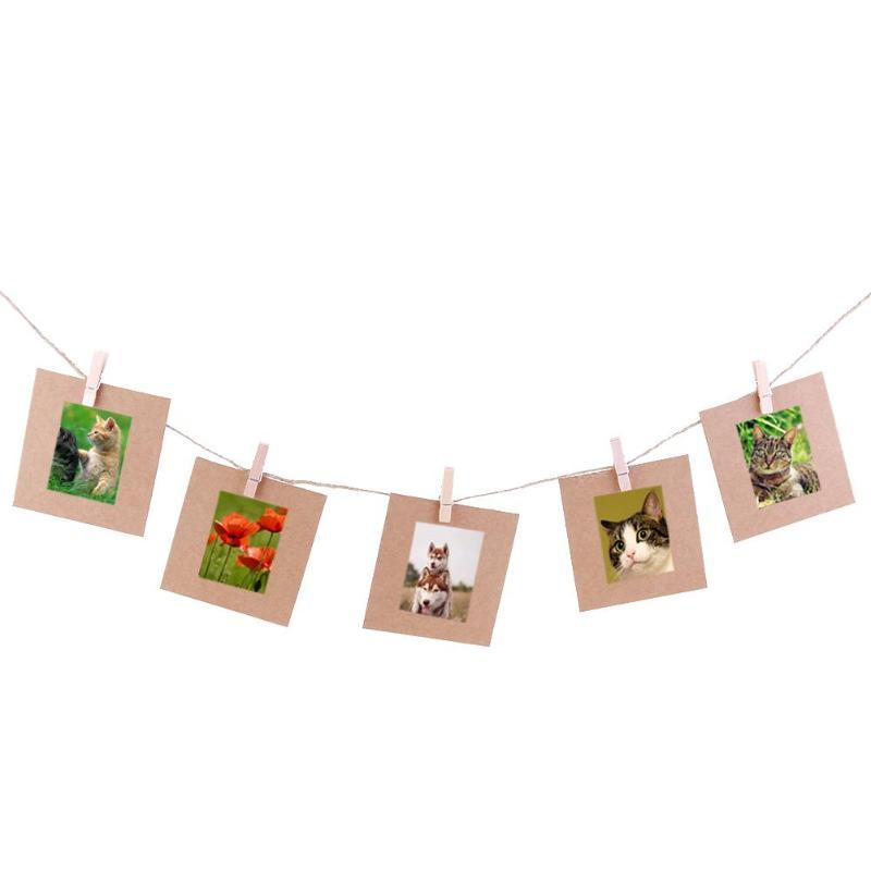 10 قطعة DIY كرافت ورقة إطار الصورة 3-7 بوصة معلق صور الحائط إطار الصورة كرافت ورقة مع لقطات وحبل لعائلة ذاكرة