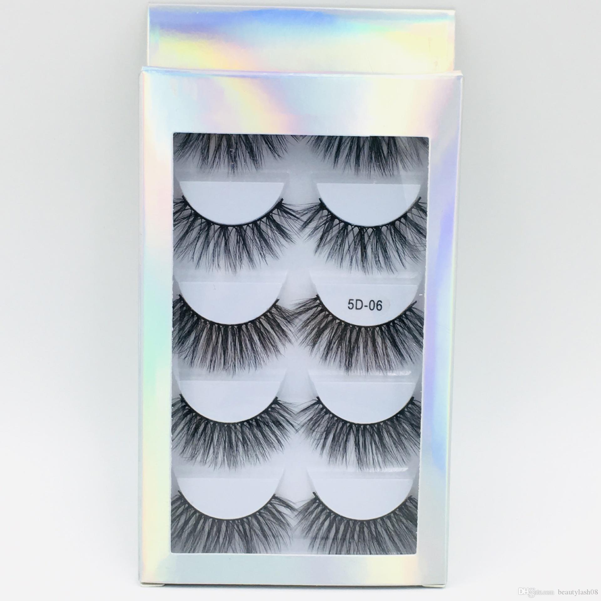 5D Mink eyelash False Eyelashes Natural Long Fake Eyelash Extension Thick Cross Faux 3d Mink Eyelashes Eye Makeup