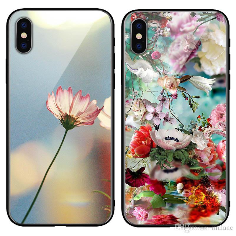 Flower Rose phone Case plum Woman Tempered glass sunflower Samsung note10 Note9 Case iPhone 6s 7plus 8 plus Xr XSMax lady case