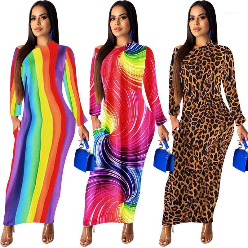 BODYCON Elbiseler Skinny Bayan Yaz Lond Elbiseler Leopar Gökkuşağı Çiçek Yaz Kadın Elbise Off Omuz Uzun Kollu