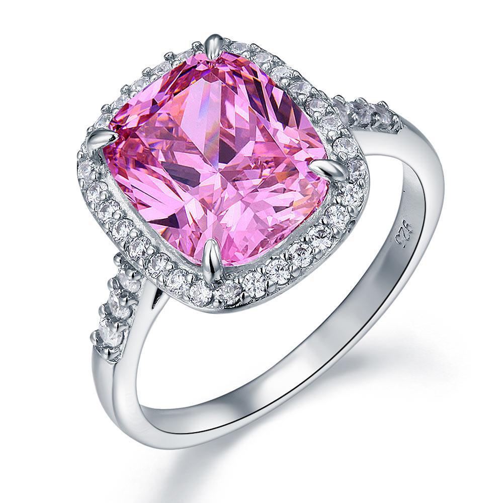 Exquisita Solitario Mujeres sólido 925 plata esterlina de lujo anillo de compromiso de 6 Ct Cojín rosado de lujo Creado diamante
