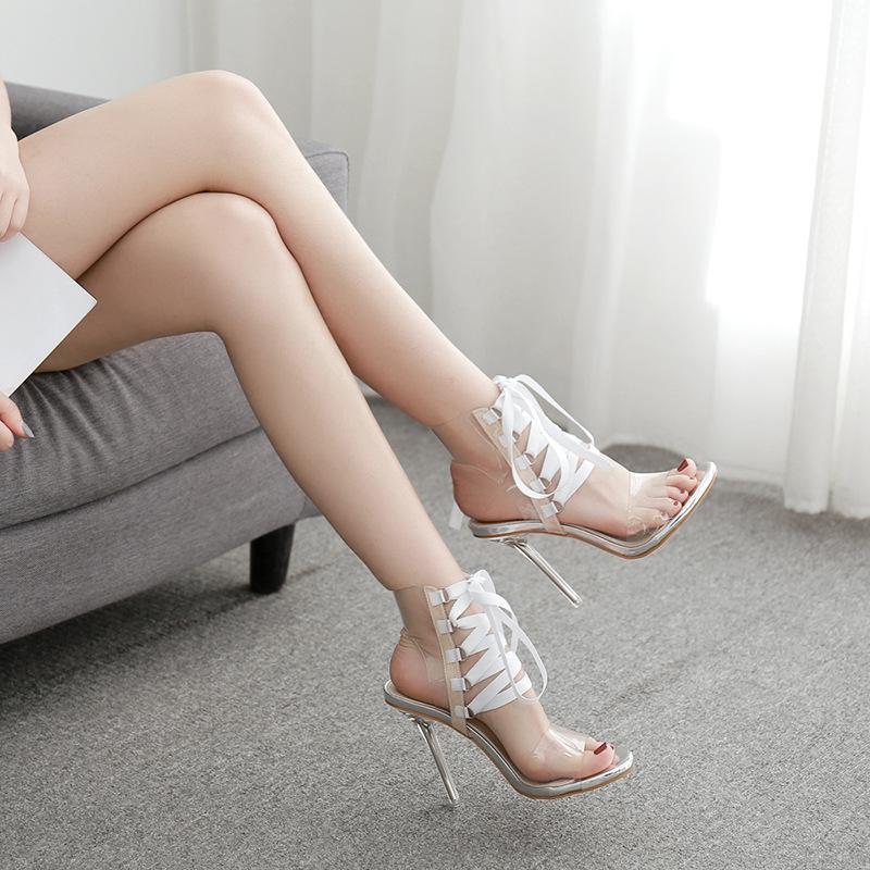 Sandali trasparente chiaro arancione tacco a spillo in PVC delle donne di estate banchetti scarpe 11.5cm tacchi Lace-up