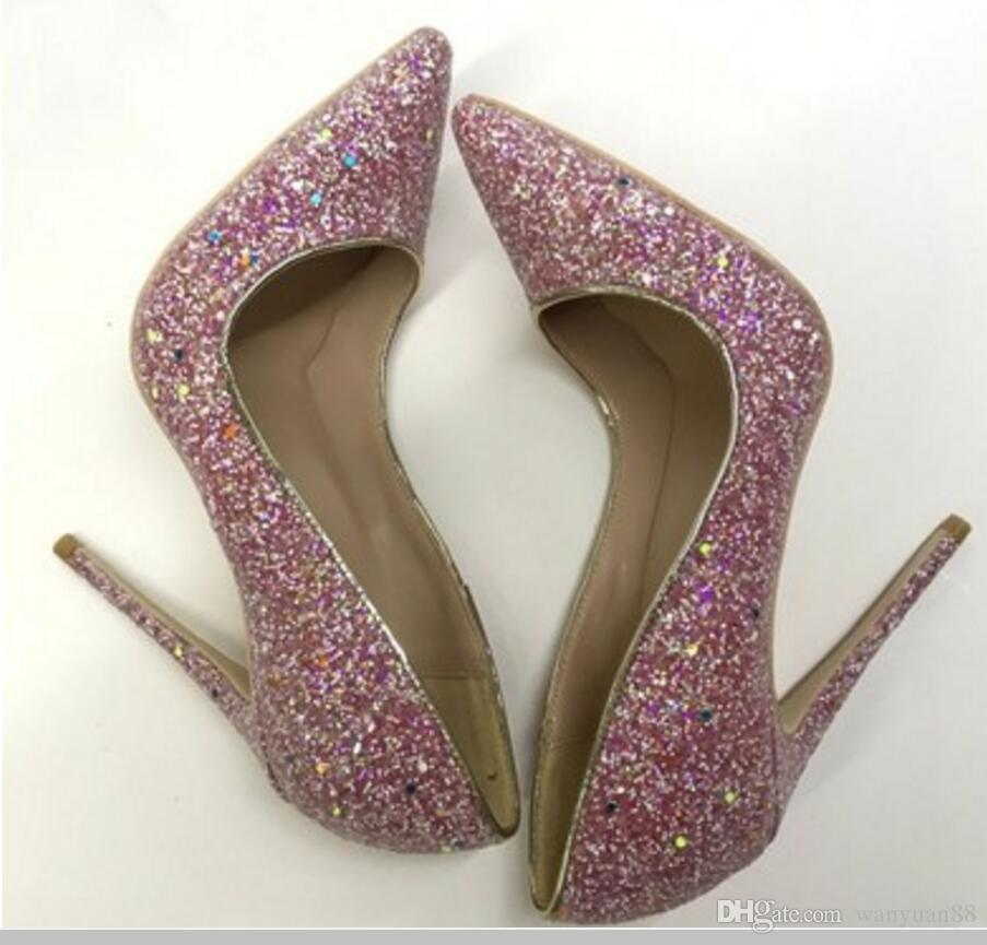 Lentejuelas amarillas, púrpura, zapatos de tacón bajo, de color rojo, para mujeres, 8 cm, 12 cm, 10 cm, tamaño grande, 45 Cúspide, tacón fino, baile de bodas, boca baja, zapatos individuales