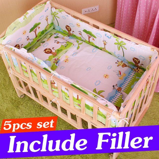 5PCS المولود الجديد مجموعة مفروشات للفتاة بوي سرير الطفل الفراش مجموعة سرير الوفير للأطفال أطقم سرير الوفير CP01S 90x50cm