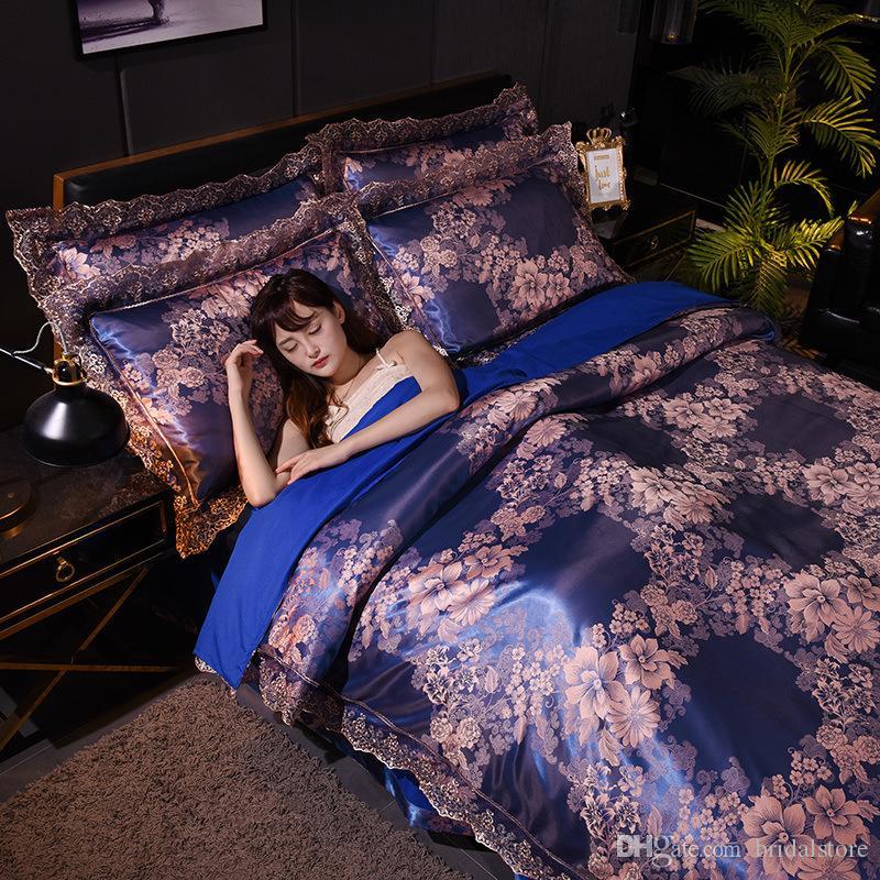 Designer Bed Consolatore Imposta raso di seta jacquard 4 set re set di biancheria di lusso Dimensioni Full Size accessori spazzolato trapuntato di assoluta qualità