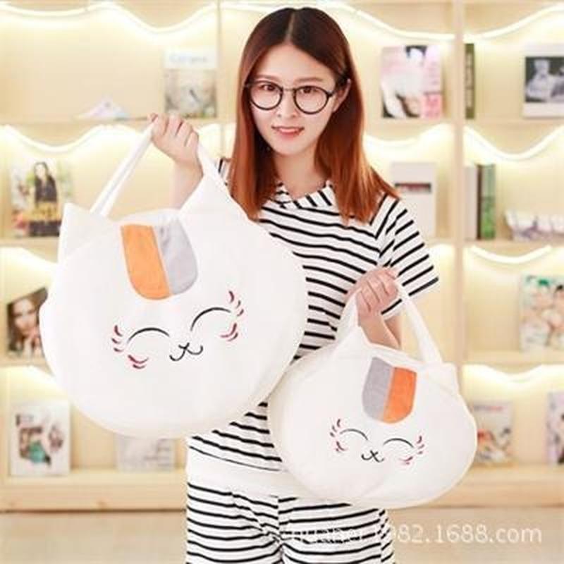 여자를위한 귀여운 만화 일본 애니메이션 나츠메 Yuujinchou 야옹이 선생님 봉제 핸드백 학교 가방 박제 동물 사랑스러운 고양이 토트