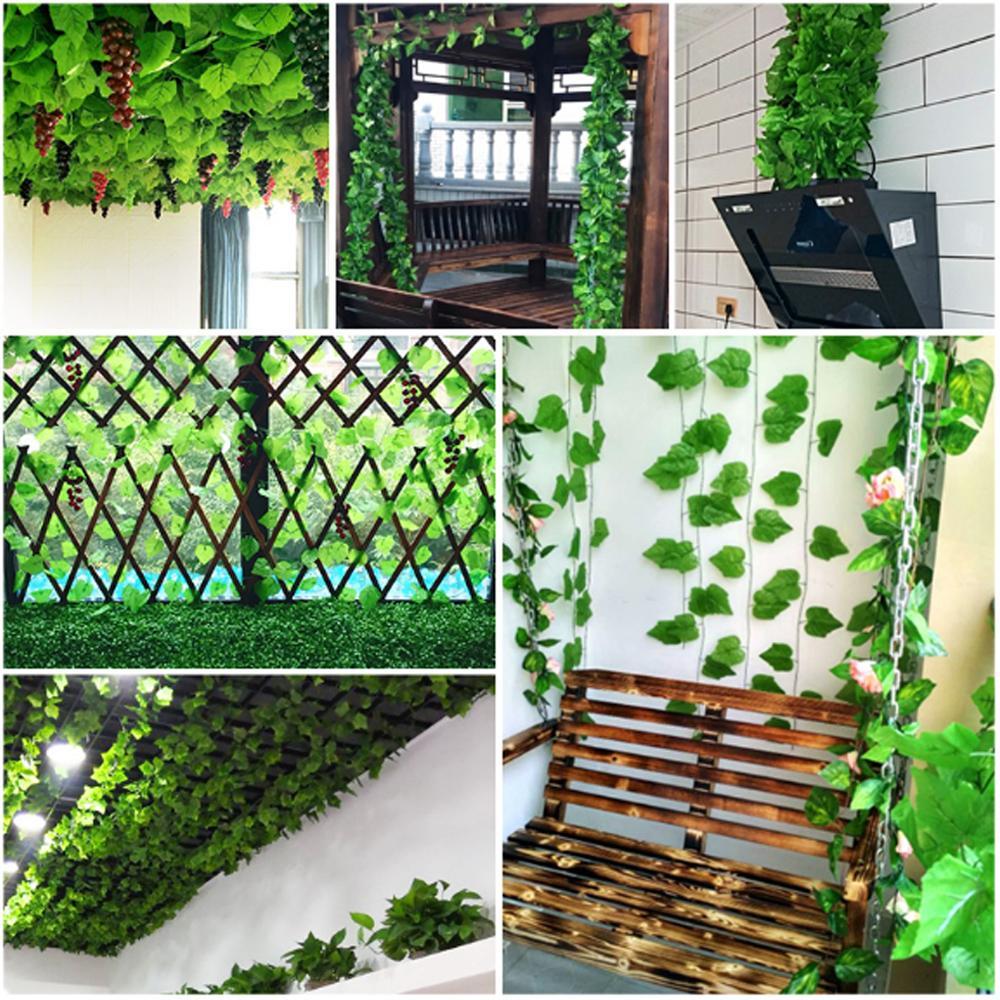 همية الزاحف الورقة الخضراء اللبلاب كرمة عنب 2.1M النباتات الاصطناعية الديكور القش ورقة الرئيسية الطرف ديكور الحديقة