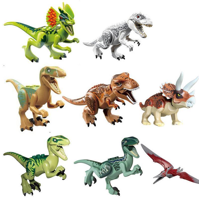 Mini figure Jurassic Park blocchi Dinosaur 8pcs un Velociraptor molto Tyrannosaurus Rex Building Blocks di moda i bambini in mattoni del giocattolo regalo ttworld