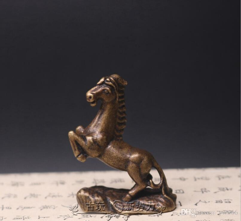Твердый медный конь маленькие украшения медь пони медь произведения искусства антикварные старые микро-резные античная бронза медь лошадь