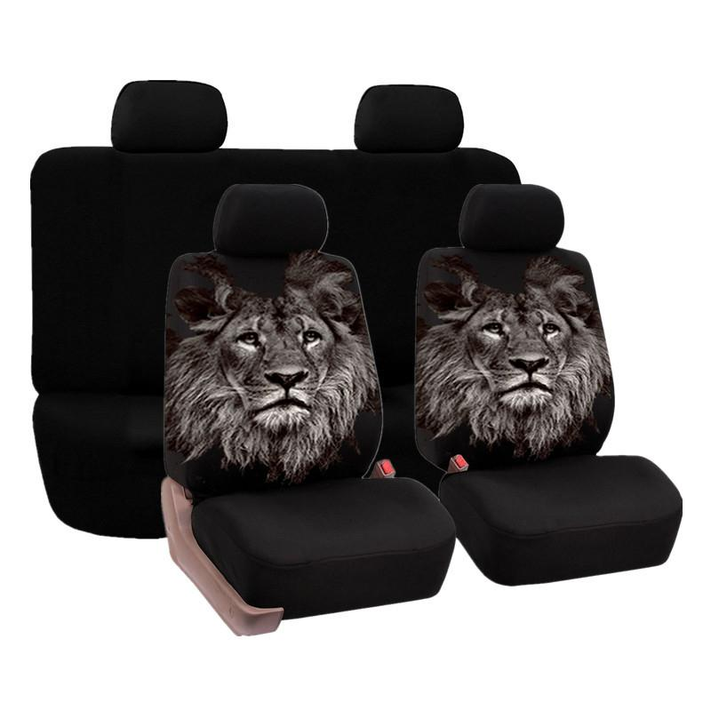 Universal-Autositzbezüge Sandwich Stoff Air Mesh Elastic Große atmungsaktiv und wind- und wasserdicht Werwolf Printed Acht-Stück Sets
