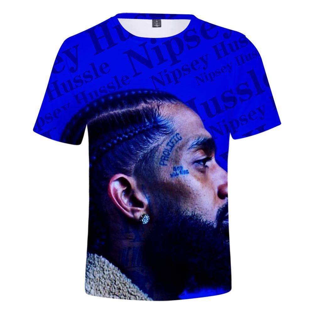 Hip Hop Nipsey 3d Hussle Camiseta Rapper Homens / mulheres Clássico Camiseta de Verão Macio Manga Curta Harajuku Nipsey Hussle Tshirts Y19050701