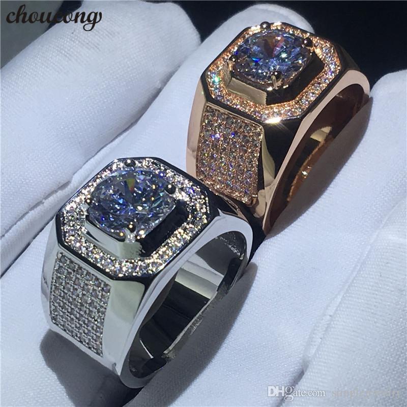 تشوكونج سوليتير خاتم الذكور 3ct الماس روز الذهب الأبيض معبأ خطوبة زفاف باند خواتم للرجال فنجر مجوهرات