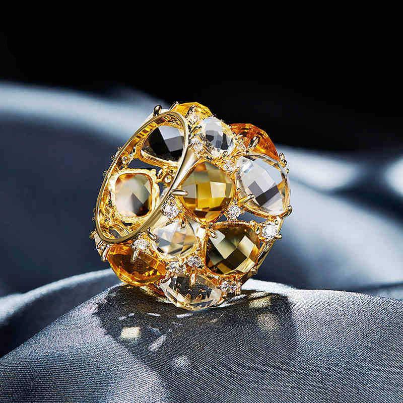 Anneaux Cdyle Luxe Vintage Fashion Ring Australie bijoux en strass Femmes Mode couleur jaune Glod bijoux élégante de fête Bijous Nouveau