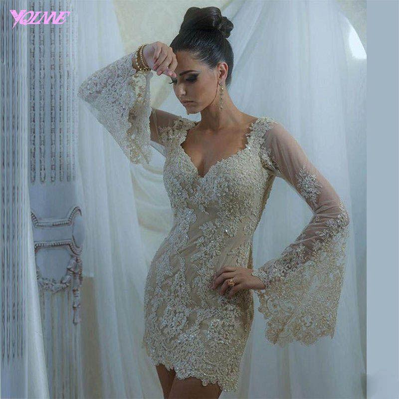 YQLANNE Elegante Champagne-Spitze-Cocktailkleider Voll Hülsen-formale Frauen-Partei-Kleid wulstige Knielänge Vestido De Festa
