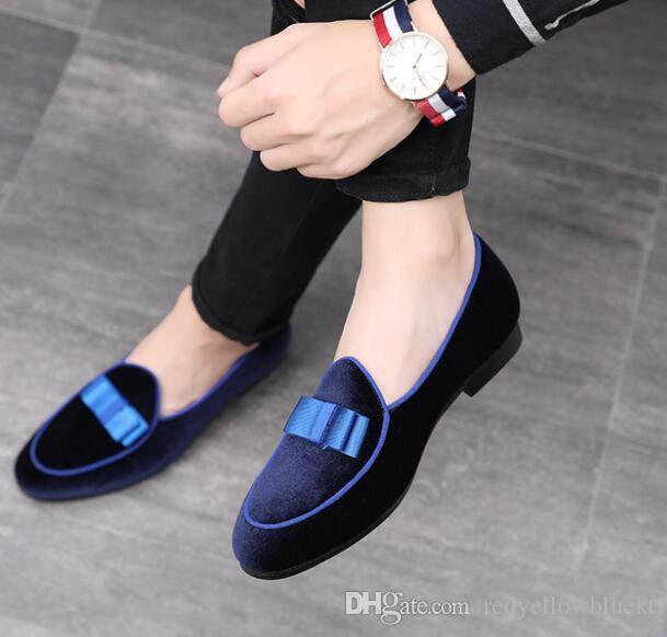 New Fashion Gentleman Bowtie Slip on Schuhe Männer wies Classics flast Schuhe Designer Hochzeitskleid prom Homecoming Schuhe plus Größe