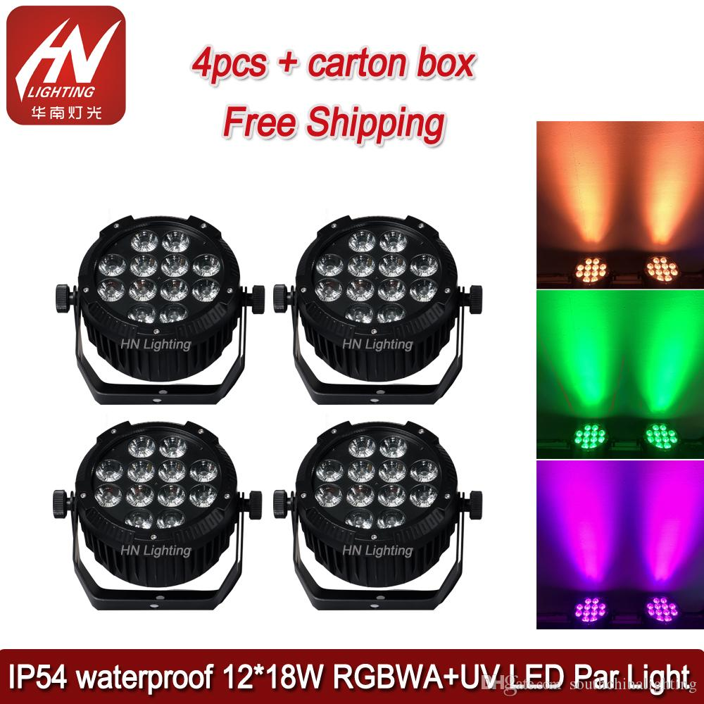 4pcs DMX led par light 12*18w waterproof IP54 RGBWAUV 6in1 led flat uplight Outdoor DJ Wedding Par Can Light