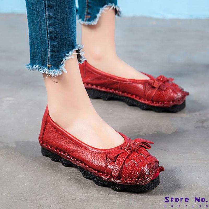 Nuevo de las mujeres zapatos de los planos mujeres del cuero genuino de los zapatos ocasionales de flores hechas a mano planos suaves mocasines de los holgazanes