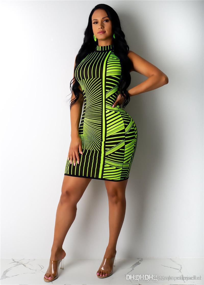 Designer Mulher Verão Impressão Vestidos Europeia de forma do americano Casual três cores malha BODYCON Vestidos Womens roupas de verão
