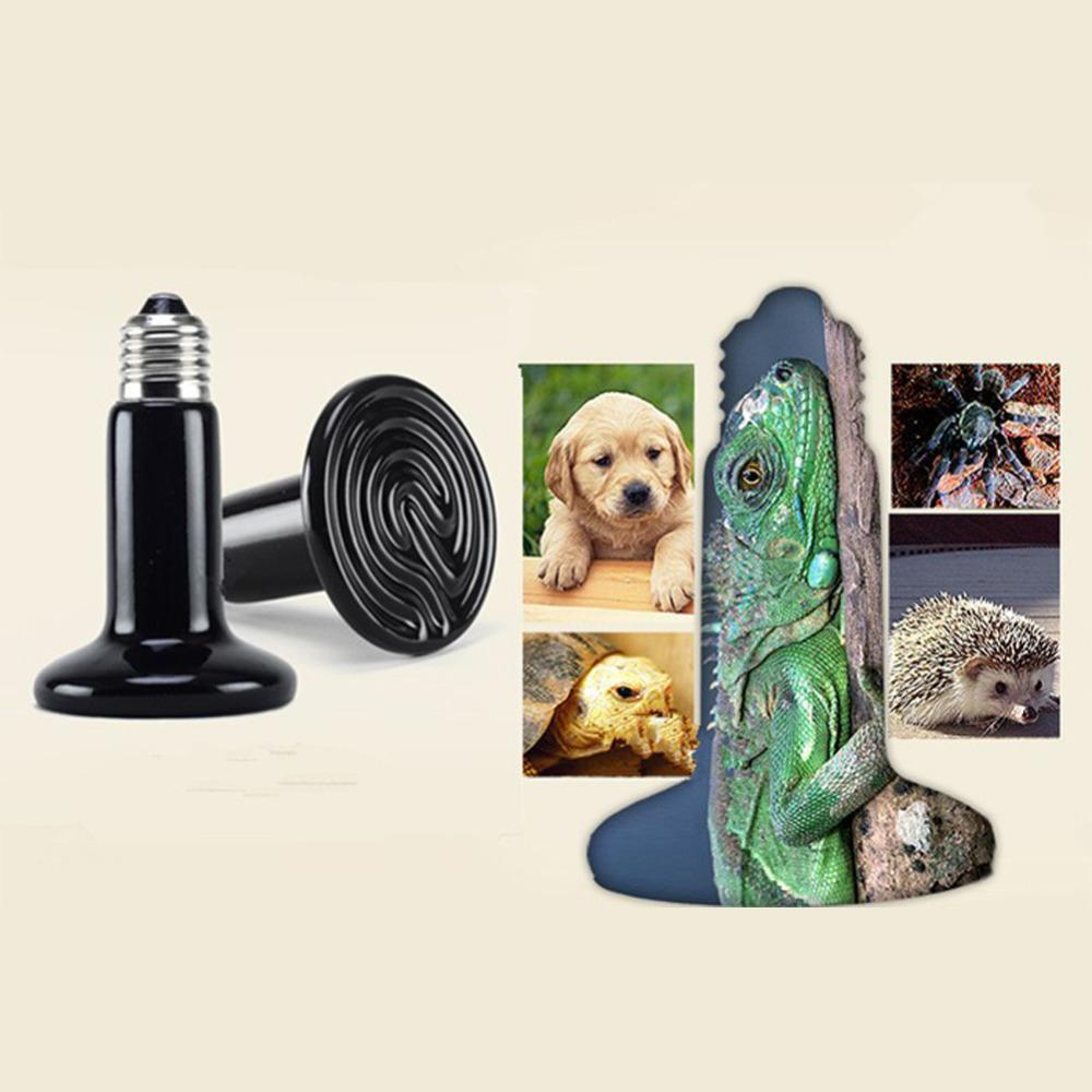 Mini Pet Heating lamp Black Infrared Ceramic Emitter Heat Light Bulb Pet Brooder Chickens Reptile Lamp 25W 50W 75W 100W 1 PCs