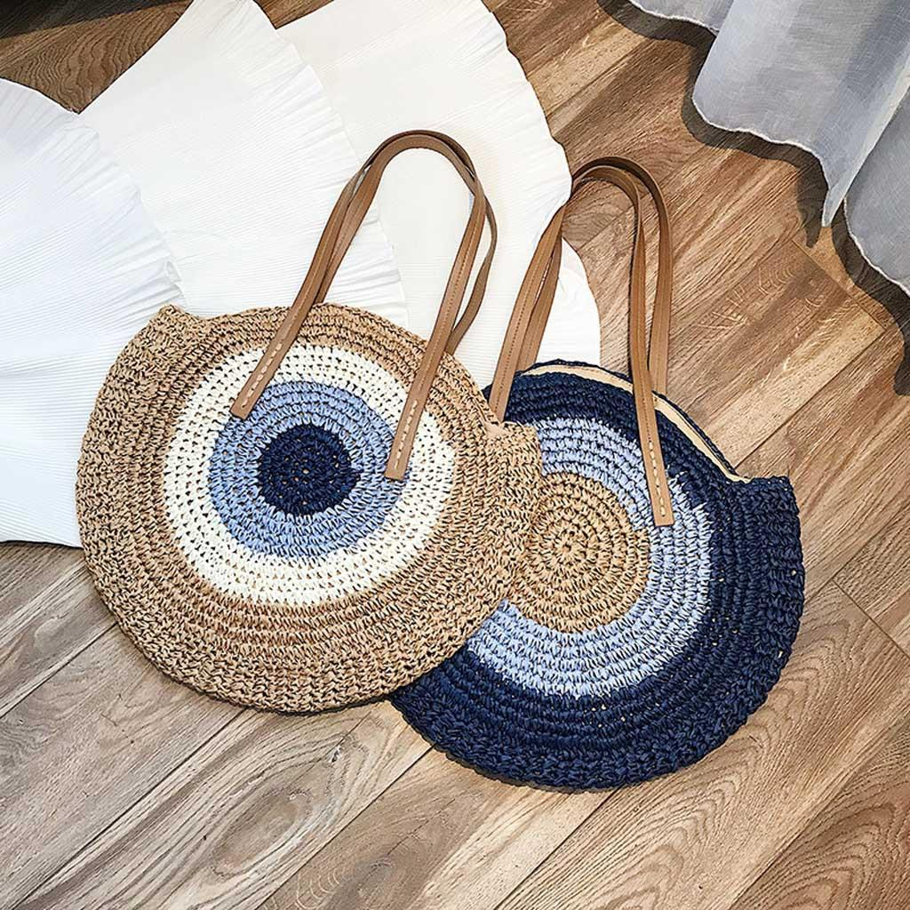 Summer Handmade Straw Bags Circle Bag Women Rattan Woven A Handbag Round Bohemia Beach Bag Sac Shoulder Main #T1G Jvkcp