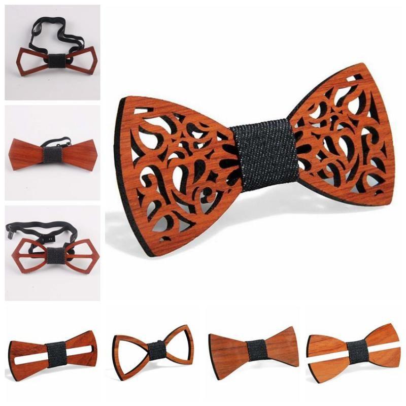 9 Estilos Do Vintage Rosewood Vermelho Laços Oco Out Bowknot Para Casamento Cavalheiro De Madeira Bowtie Fasion Acessórios CCA11257 60 pcs
