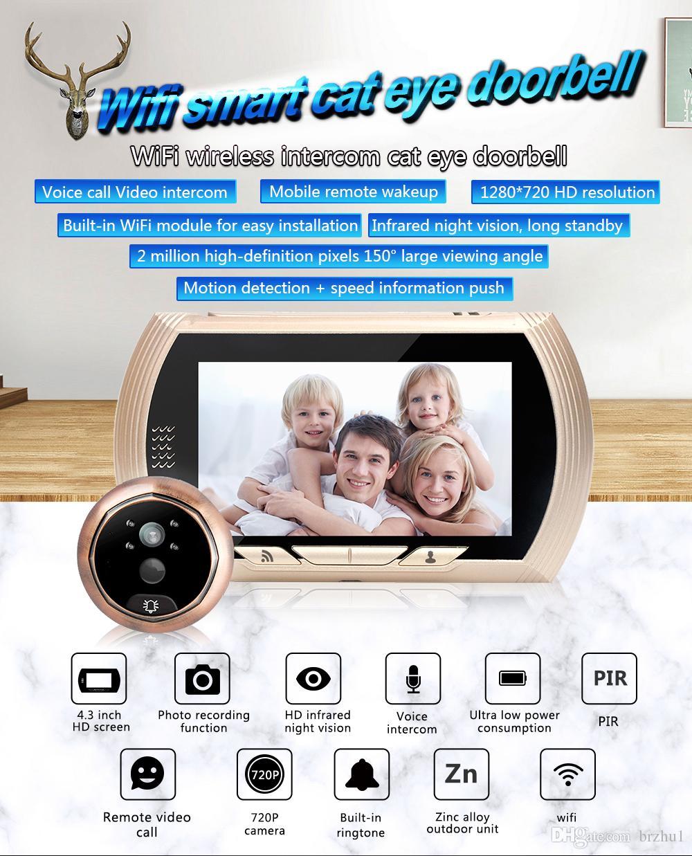 4.3 Inch 720P Wireless Intercom WIFI Doorbell