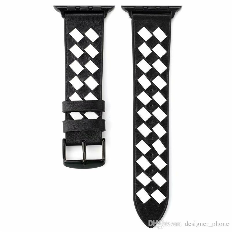 Bande de poignet plaid de mode en cuir véritable de qualité supérieure pour les bandes Iwatch 42mm pour la bande de montre Apple 38mm Sport Montre Casual Loops Adaptateur Bracelet