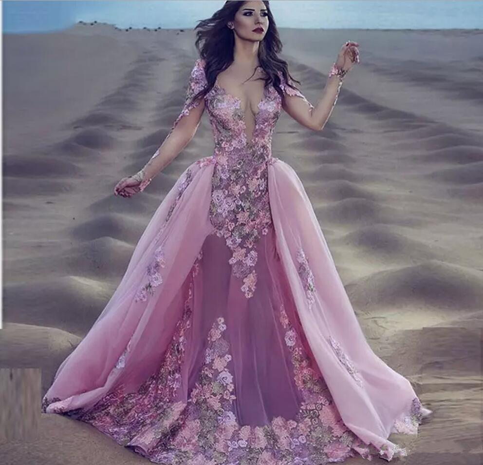 2020 Sexy Burgundy Pink Lace Long Sleeves Mermaid Gala Prom Dresses Detachable Removable Skirt Indian Floral Overskirt Prom Evening Dresses