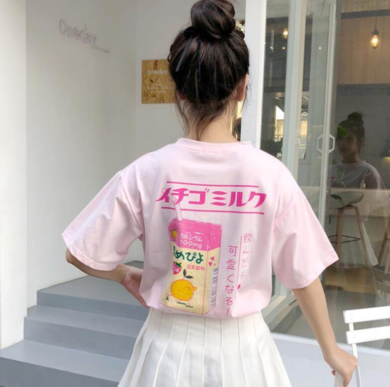 2020 새로운 딸기 우유 인쇄 느슨한 짧은 소매 t 셔츠 여성