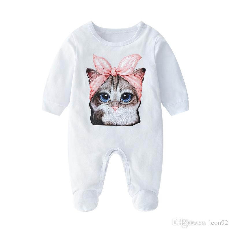 Ins Sıcak Bebek Marka Giysileri Bebek Güzel Kedi Romper Pamuk Yenidoğan Bebek Kız Erkek Bahar Sonbahar Romper Çocuk Tasarımcı Bebek Ayak Wrap Tulum