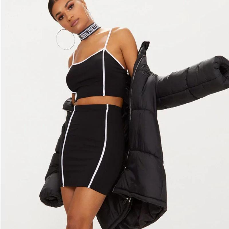 2 Two Piece Set Mulheres Verão Cotton Preto Sexy Top Curto e saia Set Casual Strapless Outfit Treino Party Club Wear Set Feminino