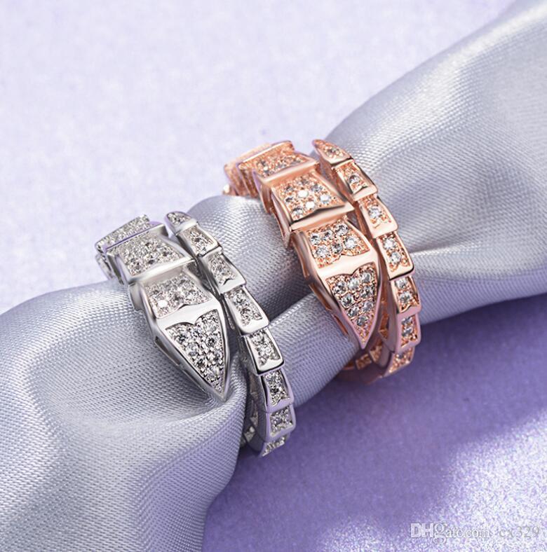 anneau de serpent style boîte de nuit européenne et américaine incrustée à la mode personnalité masculine et zircons marée Bundi femme gens index sauvage r