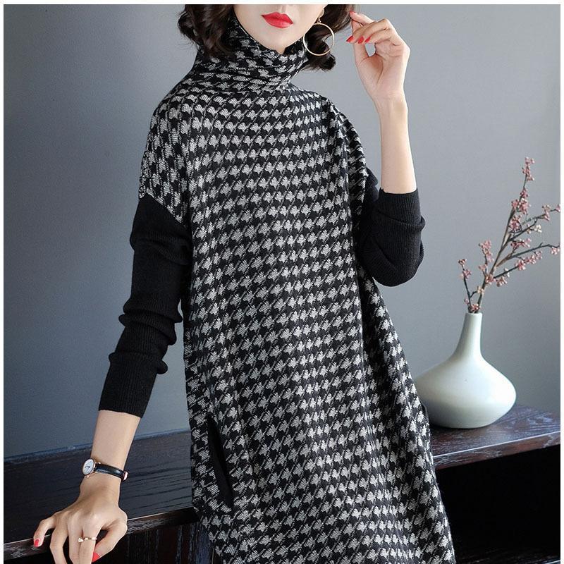 Плюс Размер Женщина Черный Хаундсет Вязание Stretch свитер платье зимы женщина платье Одежда Одеяние