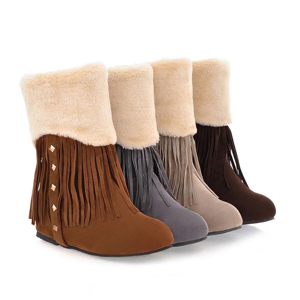 Nouveau Haute Qualité Femmes Loisirs Solide Grande Taille Frange Résistant Au Froid Neige Botte Botte Chaussures Dropshipping