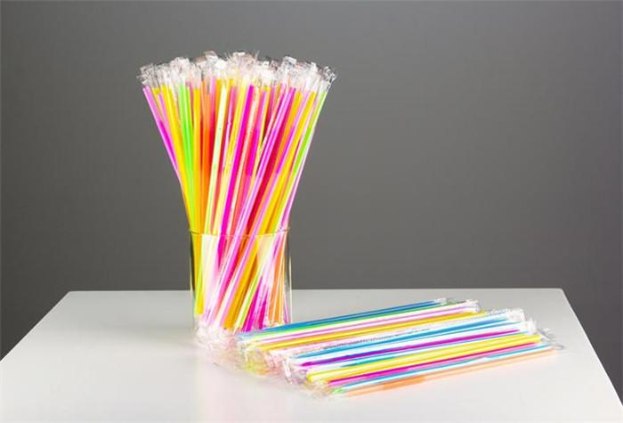 2500 peças de plástico canudo embrulhado 6 * 260 mm extensível flexível canudos descartáveis coloridos PP para festa em casa bar restaurante bar