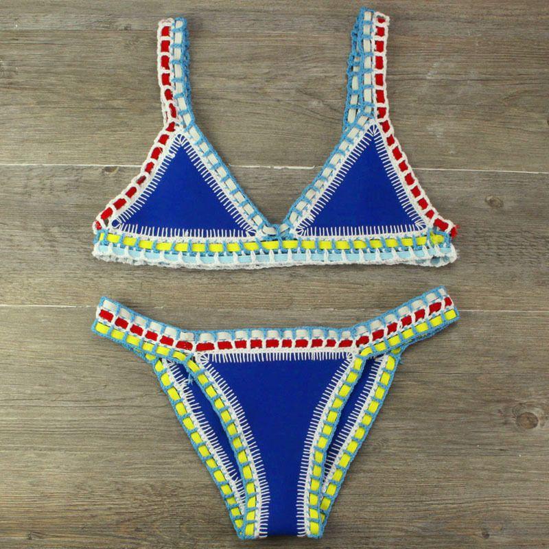 Bikini 2019 Bikini all'uncinetto lavorato a mano Patchwork donna Costumi da bagno Costumi da bagno Top all'americana Maillot Biquini Costumi da bagno Y19072601