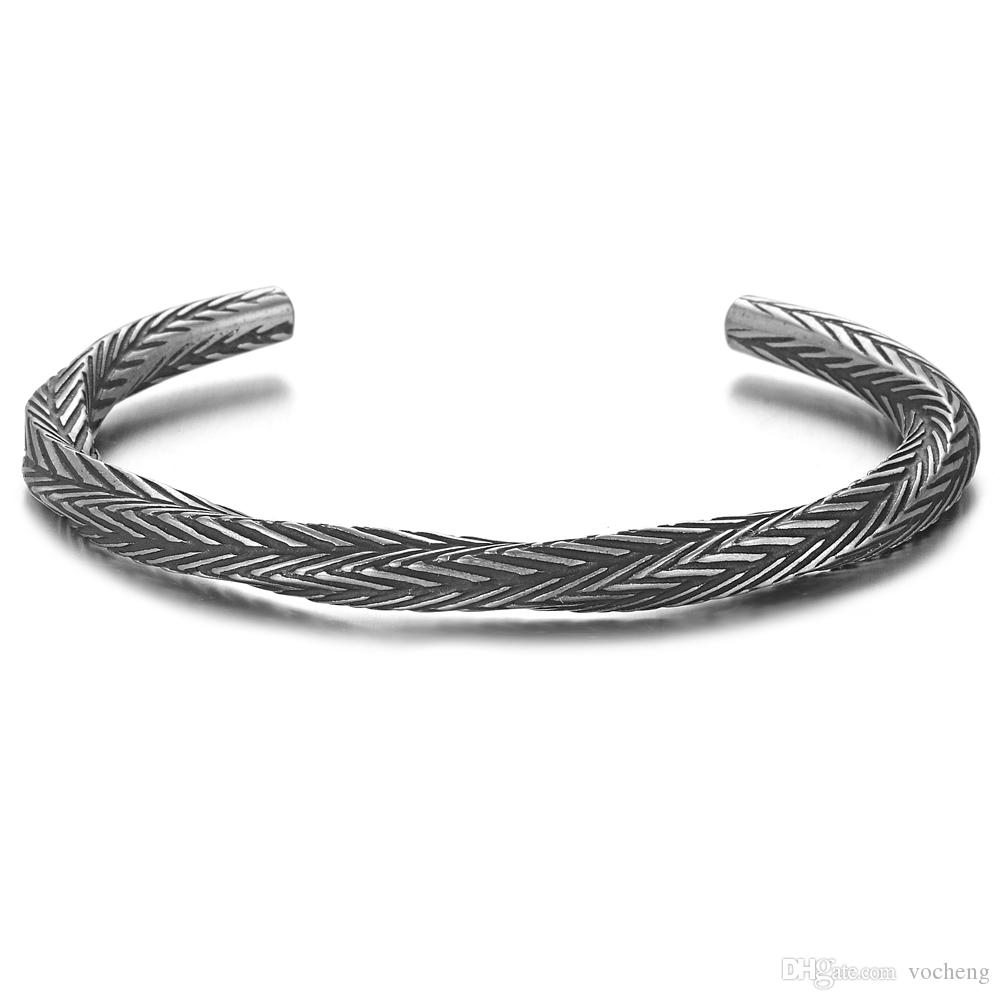 Vintage Viking Pattern Bangle Bracelets Bangles for Men Pulseras Hombre Titanium Steel Bracelet Jewelry SS-161
