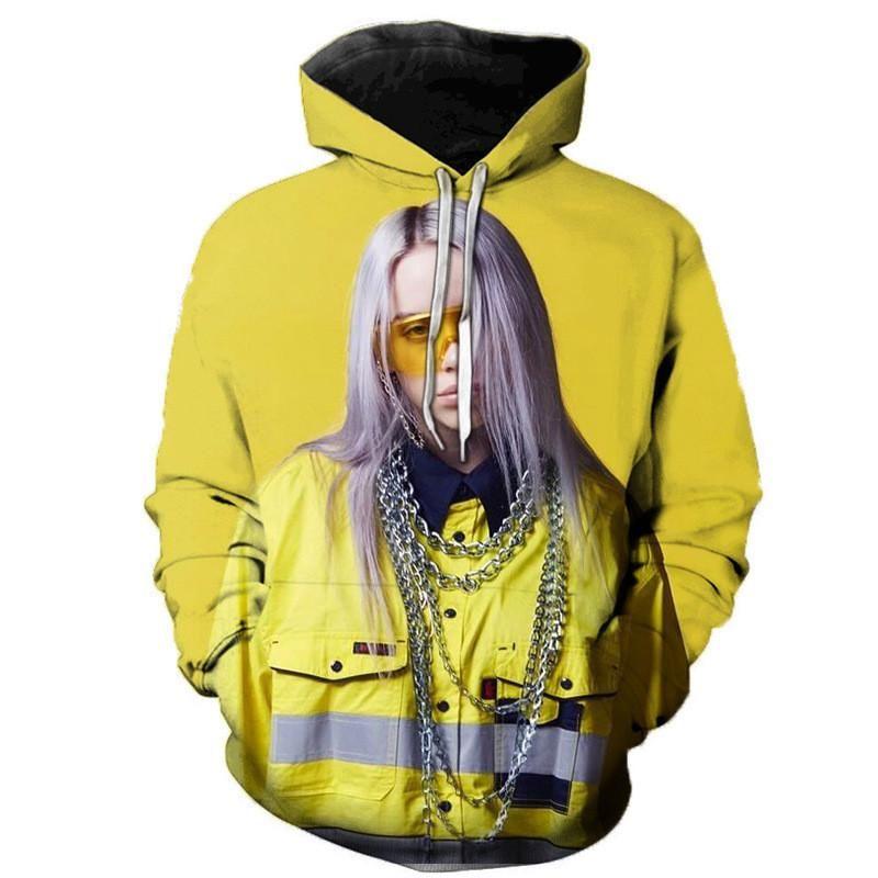Cepler ile Billie Eilish Erkek Kapüşonlular Dijital Baskılı Gevşek Tişörtü Casual Erkek Giyim Kapşonlu Kazak Katı Boys Streetwears