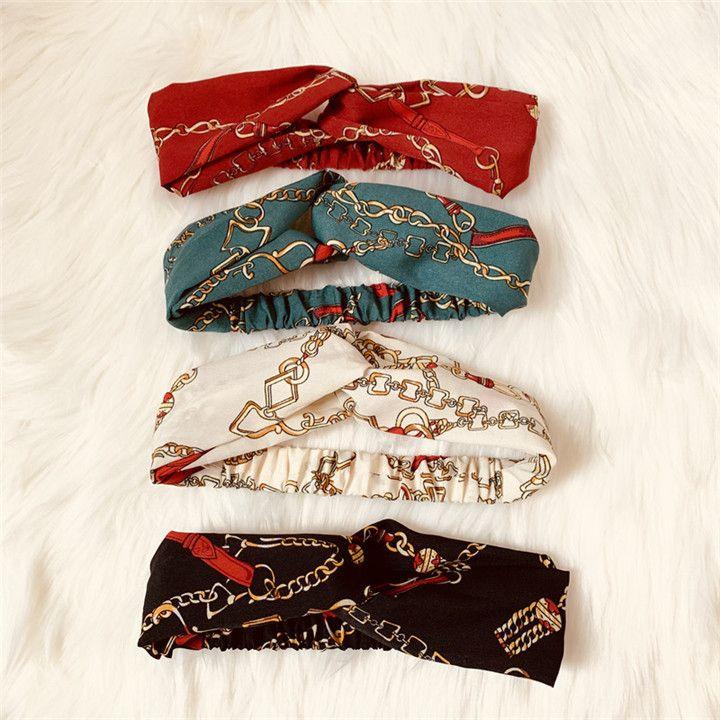 New Designer Croce Fascia per le donne Moda catena elastica stampata fasce per capelli in chiffon Ragazza turbante capo avvolge regali T225