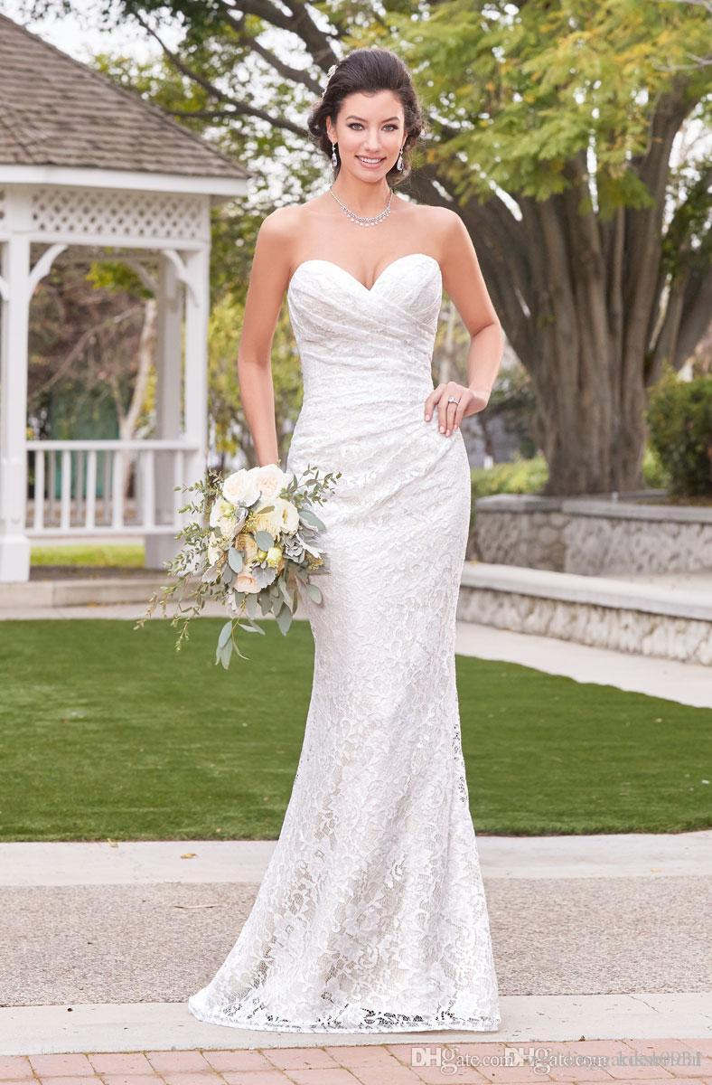 Simple White Lace Wedding Dresses Strapless Sweetheart Neckline Pleated Bodice Mermaid Wedding Dress Bridal Gowns Cheap Vestido de Novia