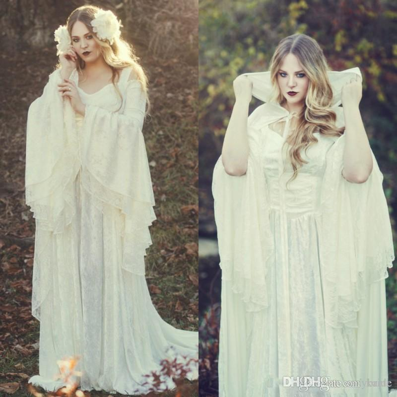 Gothic Ivory Full Lace Wedding Dresses With Long Cloak New 2019 Straps Off Shoulder Long Bell Sleeves Vintage Medieval Victorian Bridal Gown