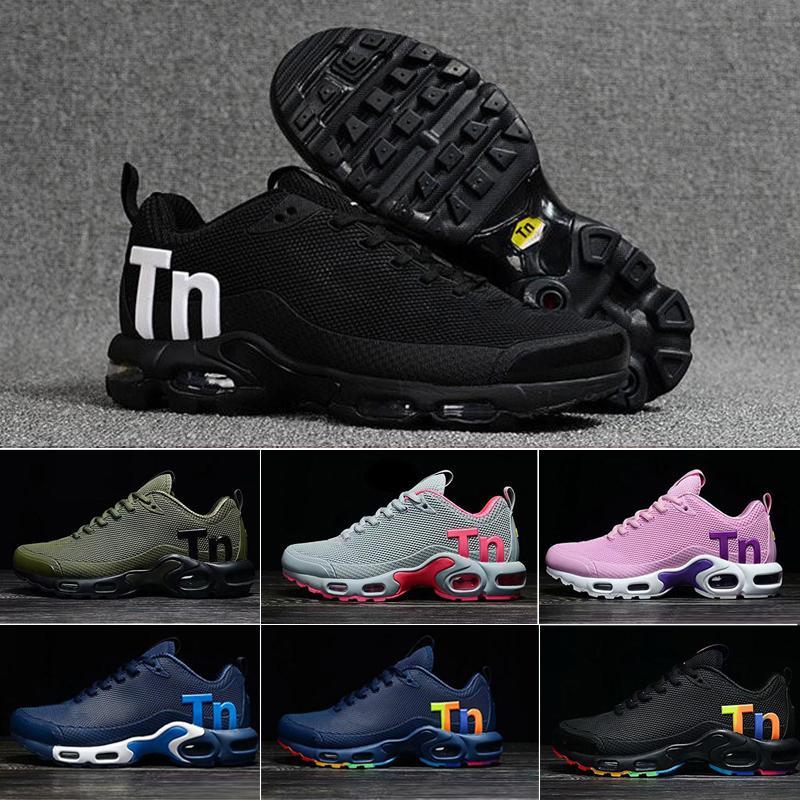 Para hombre de las nuevas mujeres Mercurial Plus Ultra Tn Se Negro Blanco Rosa Desinger los zapatos corrientes de los hombres del cuero Tns deportes al aire libre Formadores zapatillas Q65