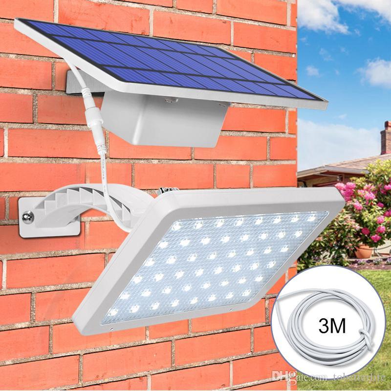 800LM مصابيح الطاقة الشمسية في الهواء الطلق حديقة للماء وضع واحد منفصل واندمج 48led الجدار ضوء زاوية قابل للتعديل