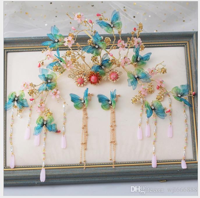 Conjunto de decoração de cabelo acessórios de vestido de casamento chinês Retro-antigo casamento dragão e Phoenix desgaste jóias