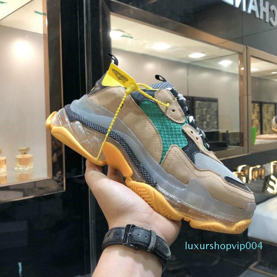 2020 Crystal inferior del papá zapatos Triple-S ocio de los zapatos de lujo Plataforma zapatillas de deporte para los hombres de la vendimia de las mujeres Kanye viejo abuelo Trainer [con la caja] a62