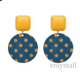 Vintage wooden geometric earrings dot contrast color earrings love pearl cute summer earring yellow blue pink 1015