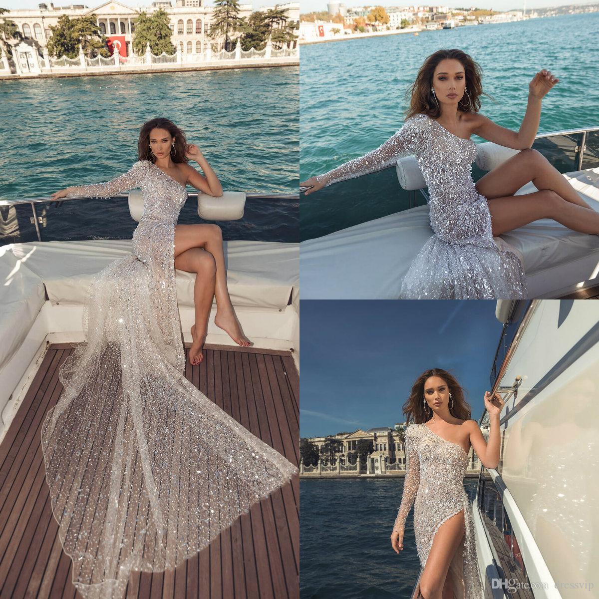 2019 Dimitrius Dalia Praia Vestidos de casamento de um ombro cristal Sequins Beads Sexy alta Dividir Bohemian vestido de casamento Ilusão vestidos de noiva