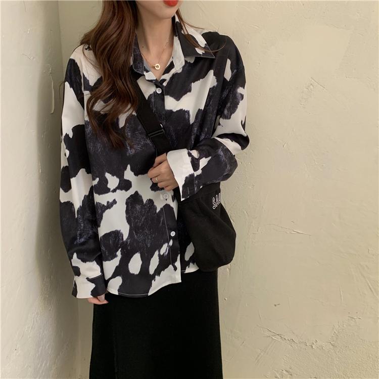 Новая рубашка 2020 весна раздел абстрактных чернила для печати черных однобортные свободно сыпучие тонкие рубашки женщины