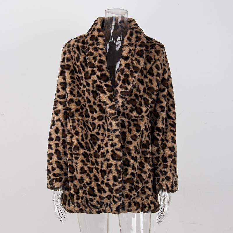 Leopard Manteaux 2019 Nouveau femmes manteau en fausse fourrure de luxe hiver chaud en peluche Veste en fourrure synthétique Mode Femmes outwear Haute Qualité